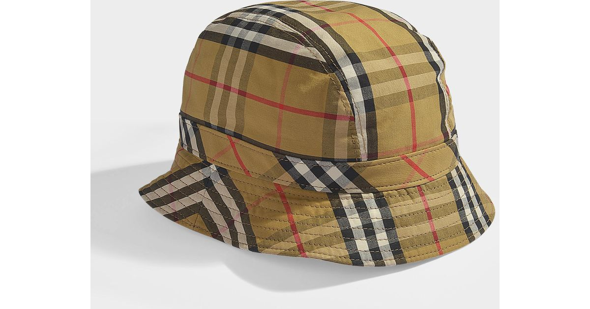 Lyst - Burberry Vintage Check Bucket Hat In Antique Yellow Cotton in Yellow a2d6efd937c