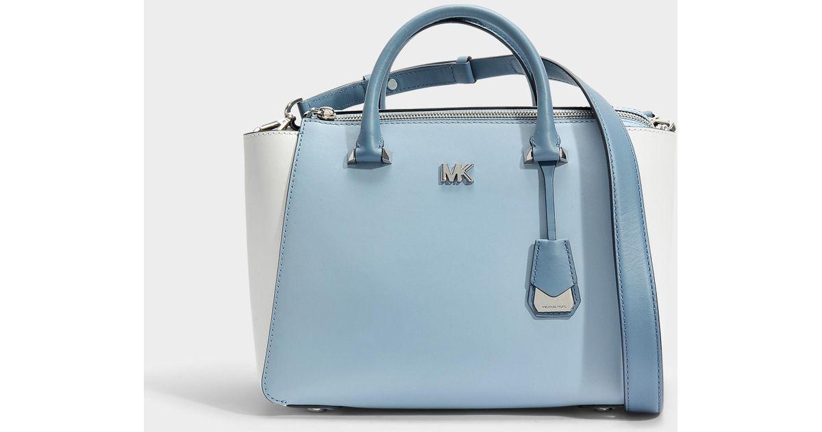 Michael Kors Nolita Medium Satchel Bag In White And Blue Leather