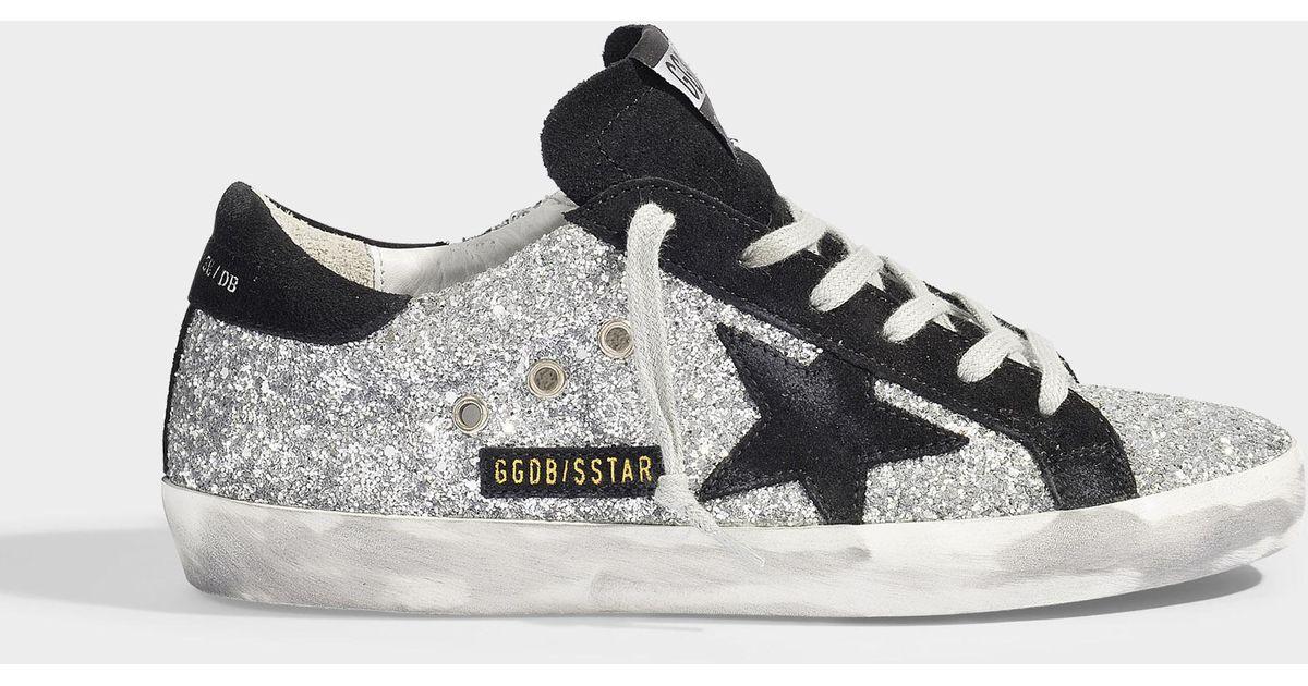 Baskets Superstar à Paillettes Argentées et Etoile en Suède Noir Golden  Goose Deluxe Brand en coloris Gray