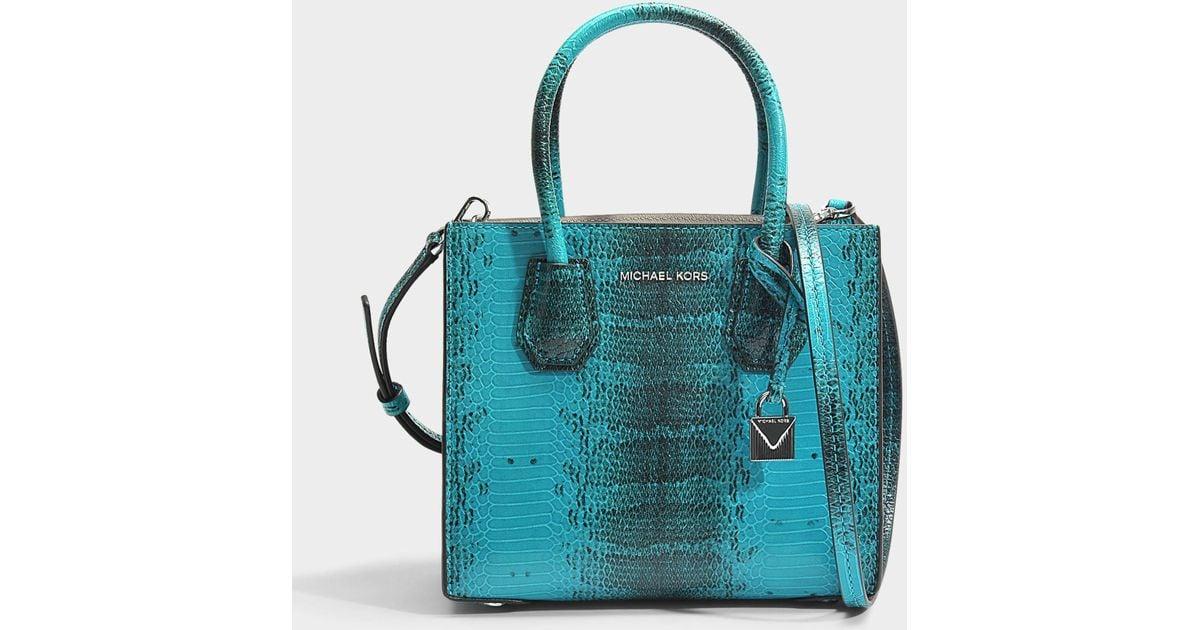 9f8fc93f0ab0 MICHAEL Michael Kors Mercer Medium Messenger Bag In Tile Blue Python  Embossed Calfskin in Blue - Lyst