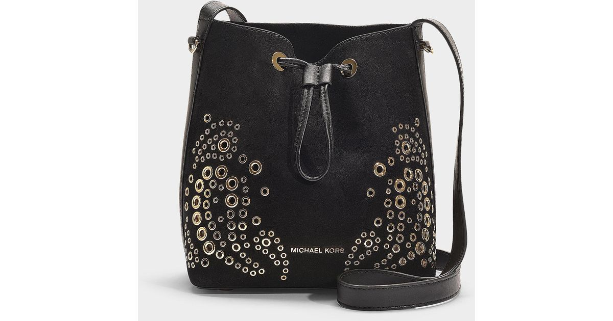 800a33d9fe86 Lyst - MICHAEL Michael Kors Cary Small Bucket Bag In Black Suede Leather in  Black