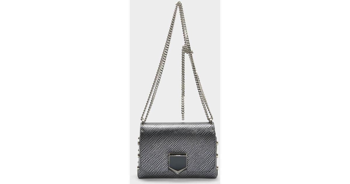 Lockett Petite Bag in Navy Etched Metallic Spazzolato Leather Jimmy Choo London Cheap Sale Cheapest opsaMYA