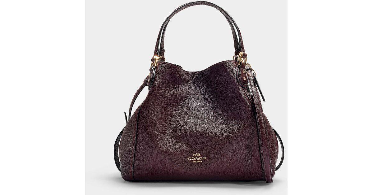 COACH Pink Polished Pebble Leather Edie 28 Shoulder Bag