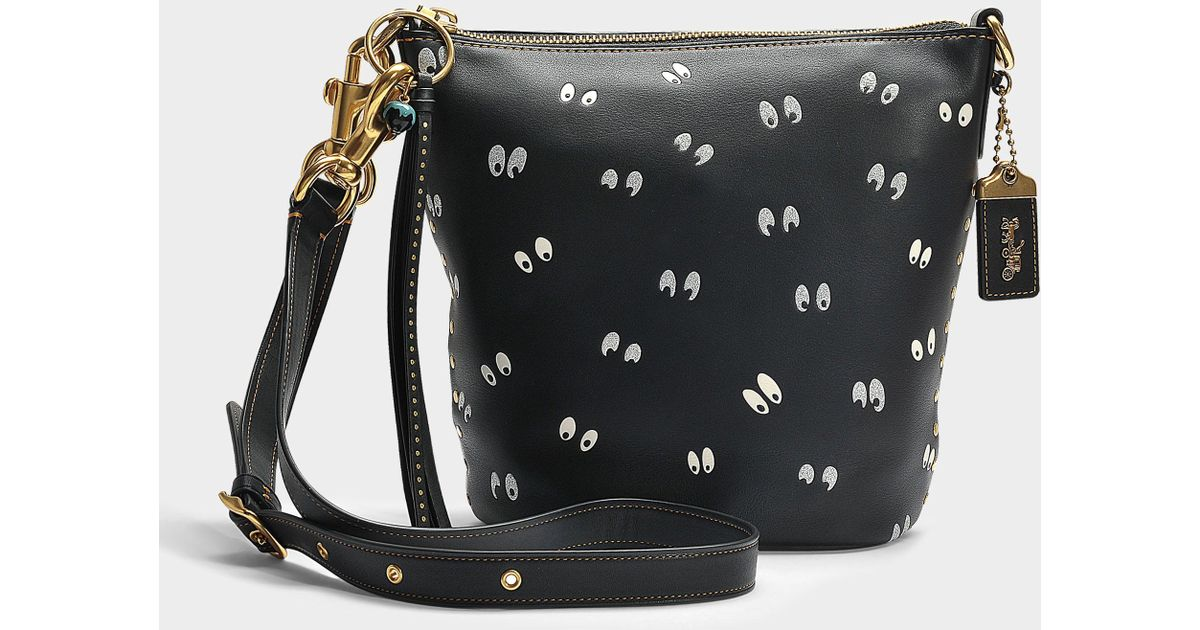 392fa2b0063d COACH Spooky Eyes Print Duffle 20 Bag In Black Calfskin - Lyst