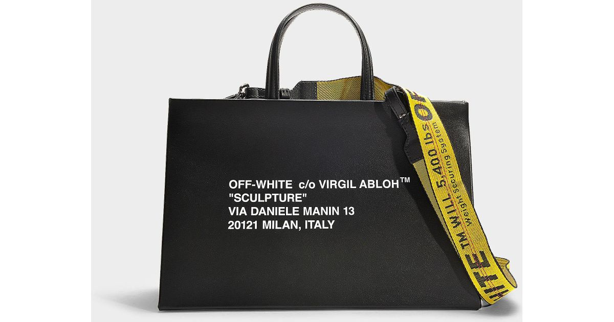 Sac à main box medium en cuir de veau noir et blanc Off White co Virgil Abloh en coloris Black