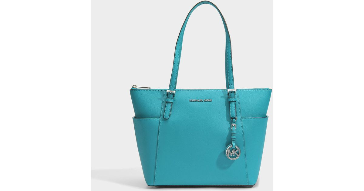 MICHAEL Michael Kors Jet Set Item East-west Top Zip Tote Bag In Turquoise  Blue Saffiano Leather