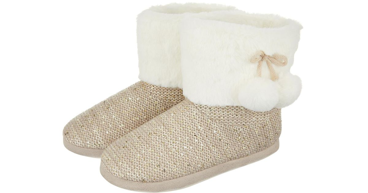 Monsoon Sian Sequin Knit Slipper Boots In Gray Lyst