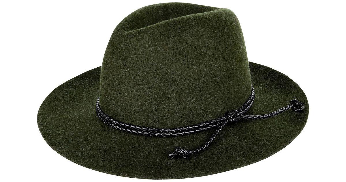 6db5a3c5e5df51 Monsoon Felt Fedora Plaited Trim Hat in Green - Lyst