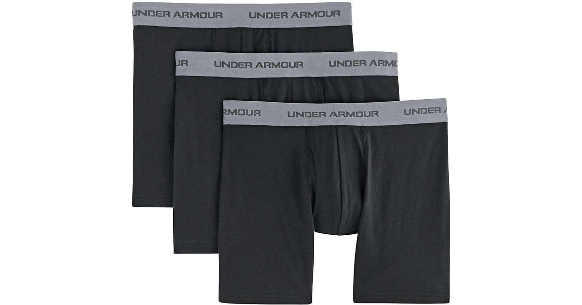 03172567 Lyst - Under Armour Charged Cotton Stretch 6 Inch Boxerjock 3 Pack in Black  for Men