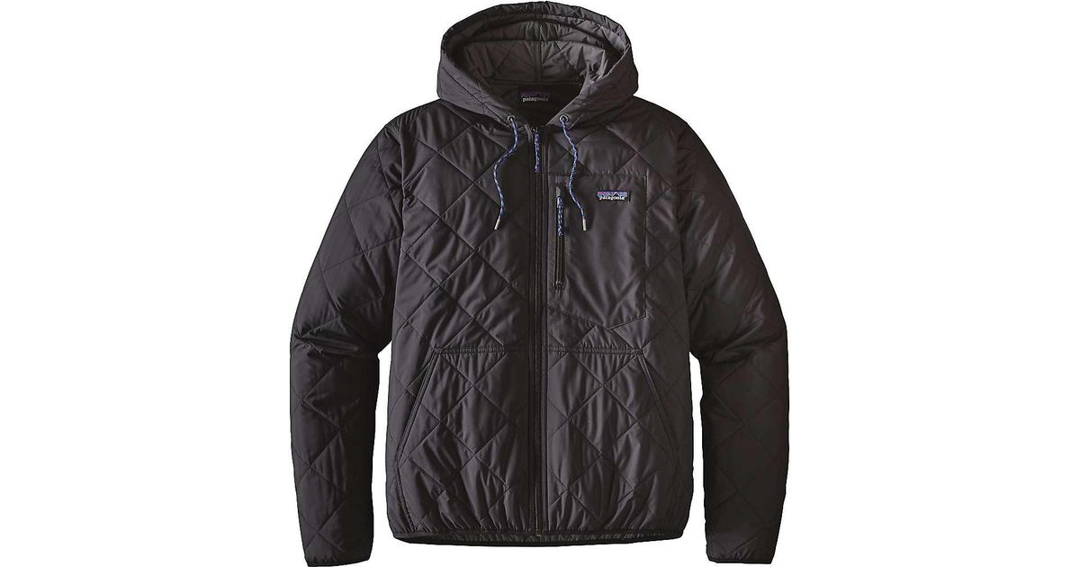 Patagonia Diamond Quilted Bomber Hooded Jacket In Black