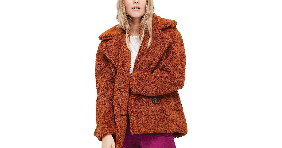 788654508745 Lyst - Free People Notched Teddy Peacoat in Brown