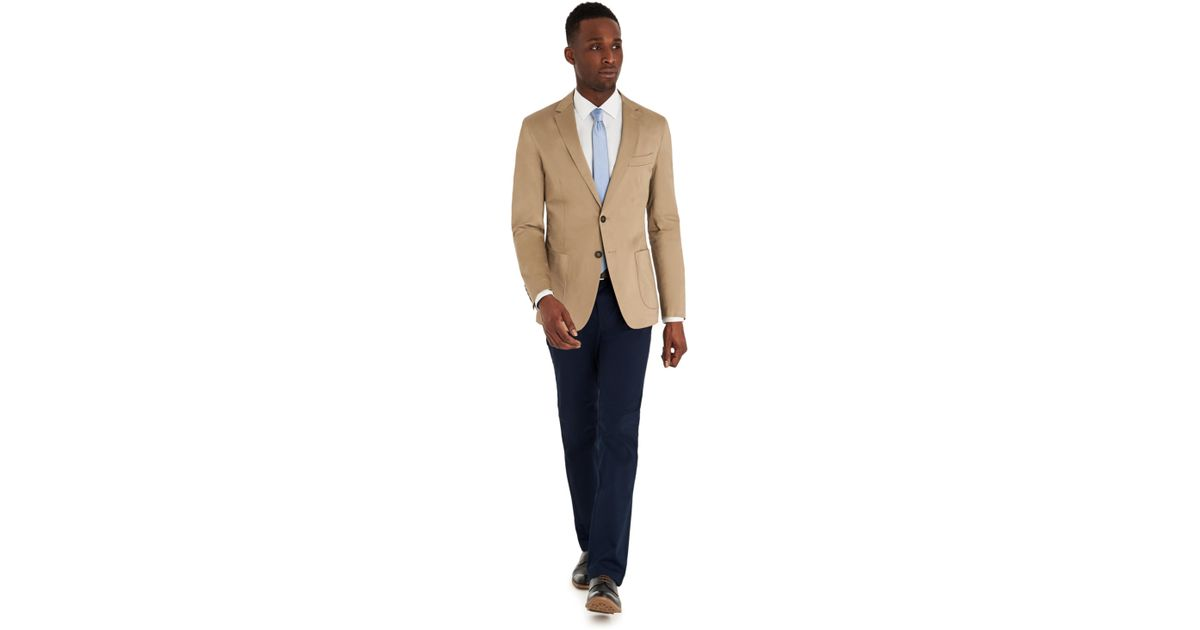 47242fd36 DKNY Slim Fit Stone Cotton Jacket in Natural for Men - Lyst