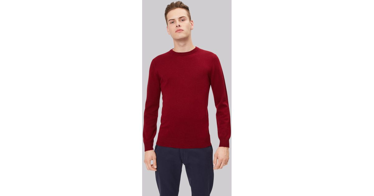 eb1646e539ab Lyst - Moss London Wine Crew Neck Jumper in Red for Men