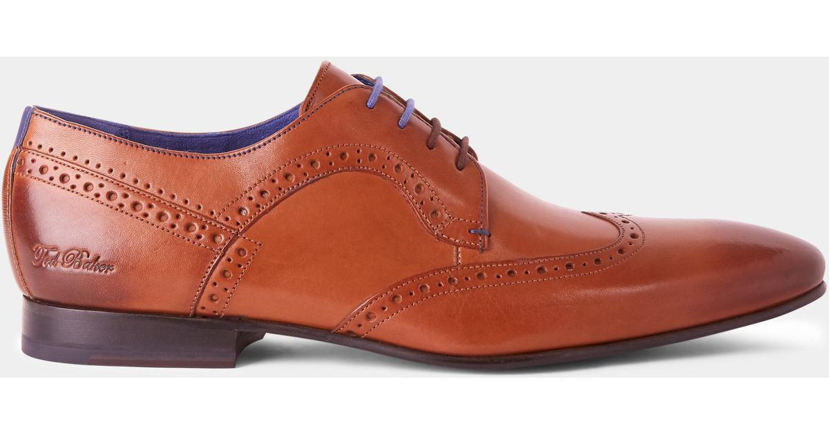 Ollivur Leather Brogue Shoes In Tan - Tan Ted Baker x5Mh5BqTX