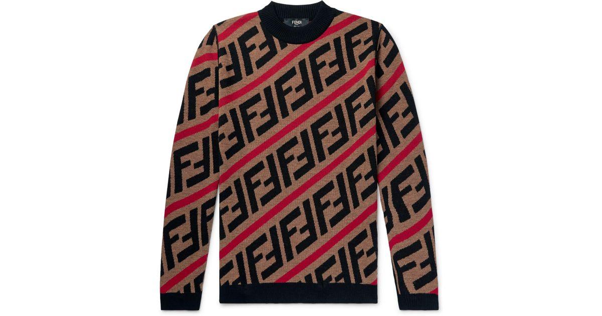 Fendi Logo Jacquard Wool Rollneck Sweater In Brown For Men