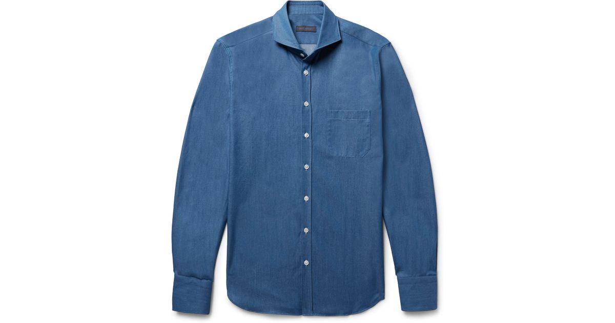 Thom Sweeney Slim-fit Cutaway-collar Cotton-chambray Shirt - Blue 2hMCI63r
