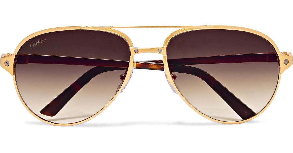 6c2d0642b0 Cartier Santos De Cartier Aviator-style Leather-trimmed Gold-plated  Sunglasses in Metallic for Men - Lyst