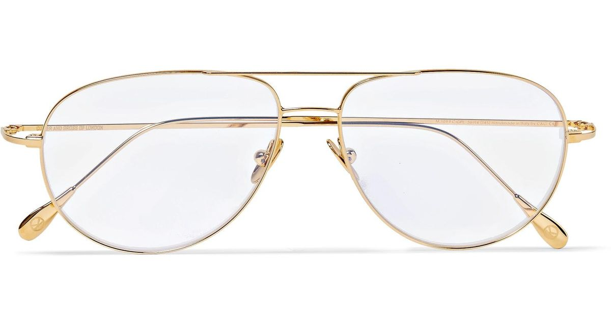 5d722932e7 Kingsman + Cutler And Gross Statesman Aviator-style Gold-tone Optical  Glasses in Metallic for Men - Lyst