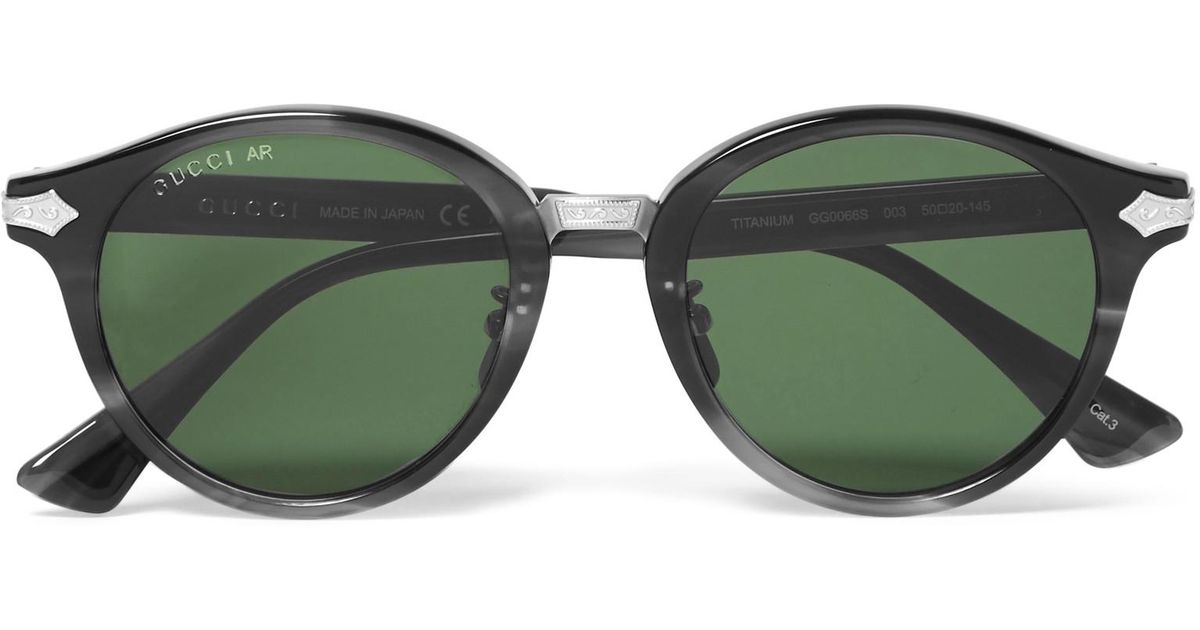 775aff204 Gucci Round-frame Acetate And Titanium Sunglasses in Green for Men - Lyst