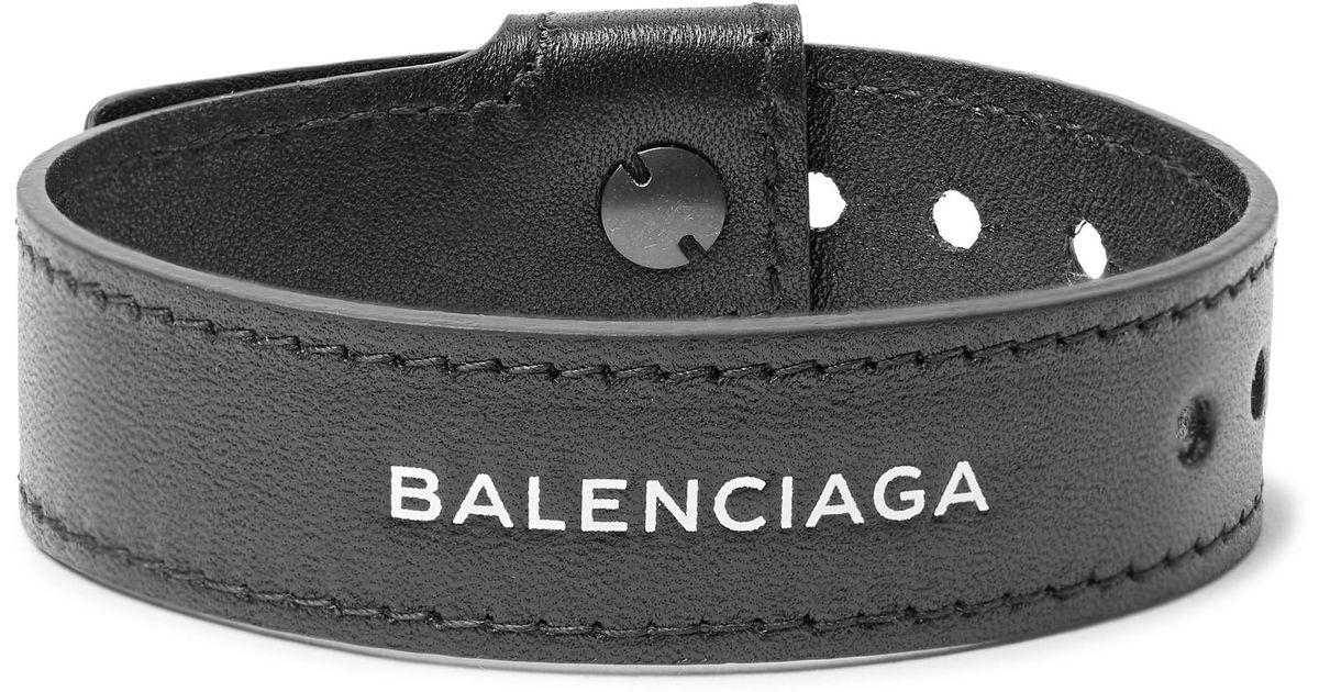 Balenciaga Logo-print Textured-leather Snap Bracelet - Black rrrY9Sj4