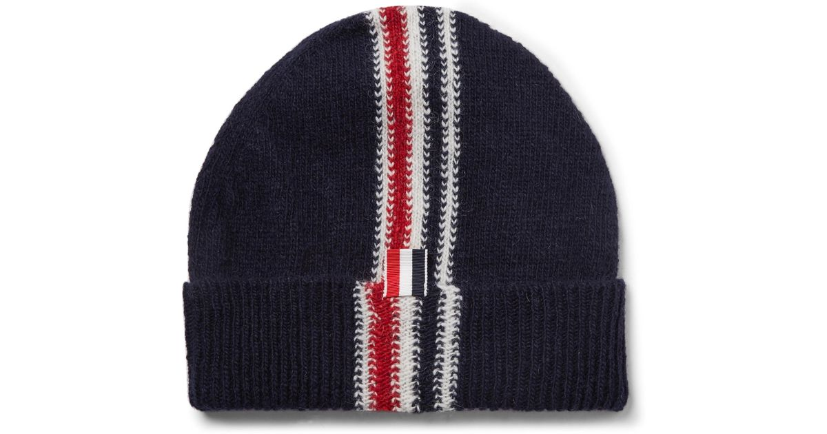 b88e9b650b4 Thom Browne Striped Intarsia Wool And Mohair-blend Beanie in Blue for Men -  Lyst