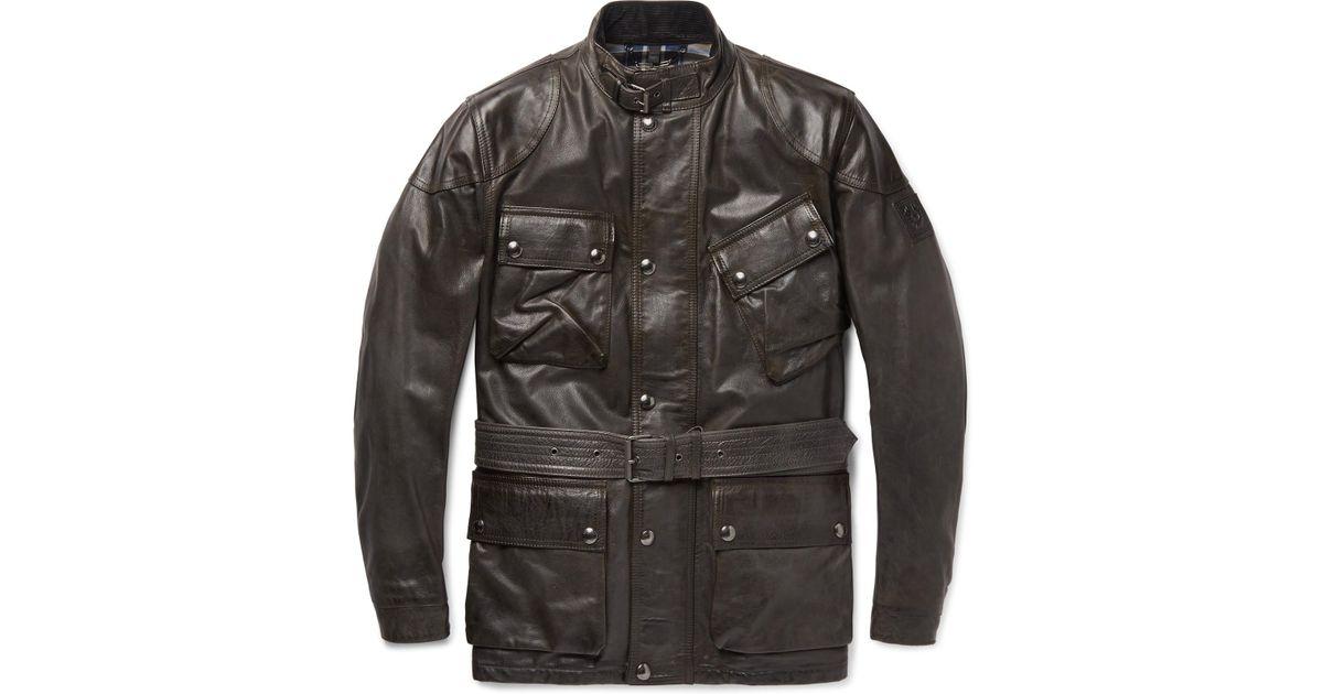 Panther Gray Belstaff Men Slim In Lyst Fit Jacket For Belted Leather 5Af887