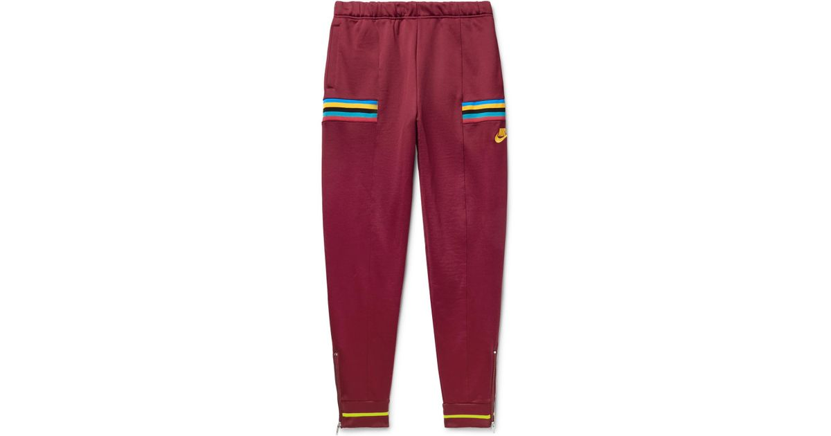 0f0ee4e22 Nike Tapered Loopback Cotton-blend Tech-jersey Sweatpants in Red for Men -  Lyst