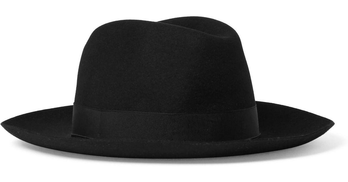 2fe08aa0d9c848 Lyst - Borsalino Grosgrain-trimmed Rabbit-felt Fedora in Black for Men