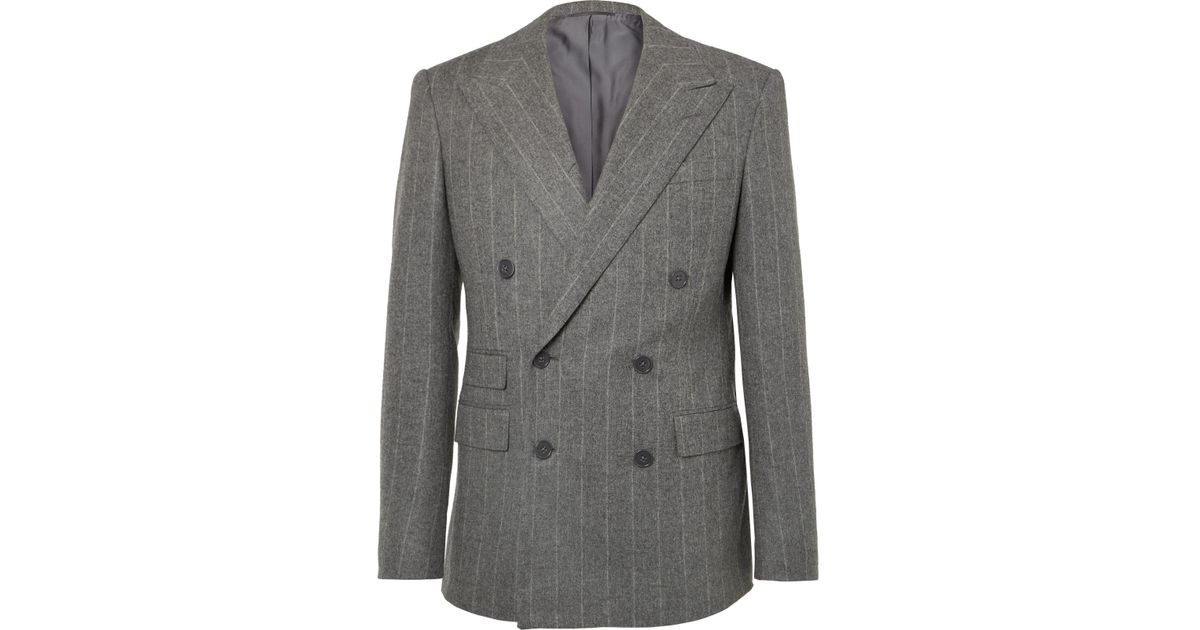 2f40bb2a773e Ralph Lauren Purple Label Grey Gregory Double-breasted Pinstriped Wool Suit  Jacket in Gray for Men - Lyst