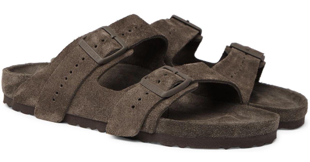 cd0f0541ebac Rick Owens + Birkenstock Arizona Suede Sandals in Gray for Men - Lyst