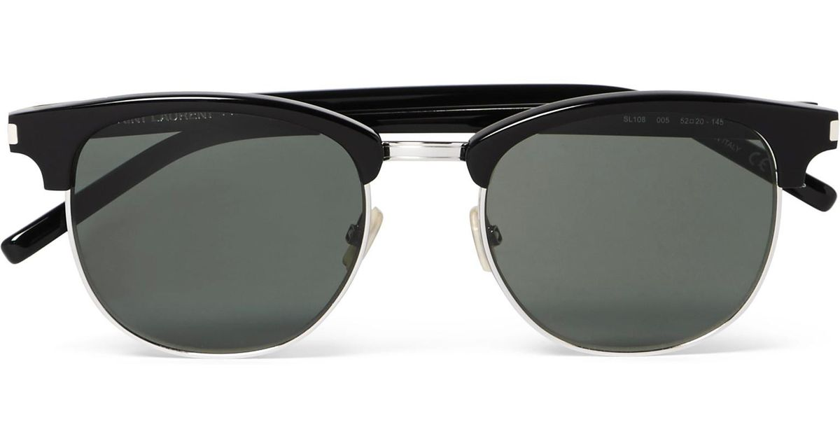 fc4f032c32 Lyst - Saint Laurent D-frame Acetate And Silver-tone Sunglasses in Black  for Men