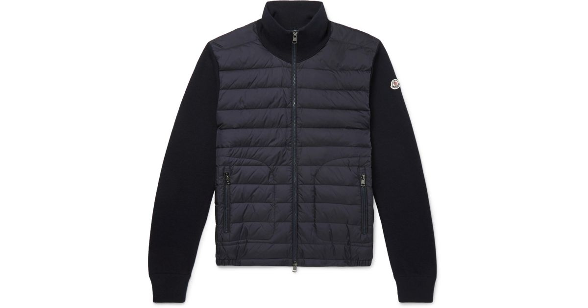 07b05fdfa08 Moncler Panelled Jersey And Quilted Shell Down Jacket in Blue for Men - Lyst