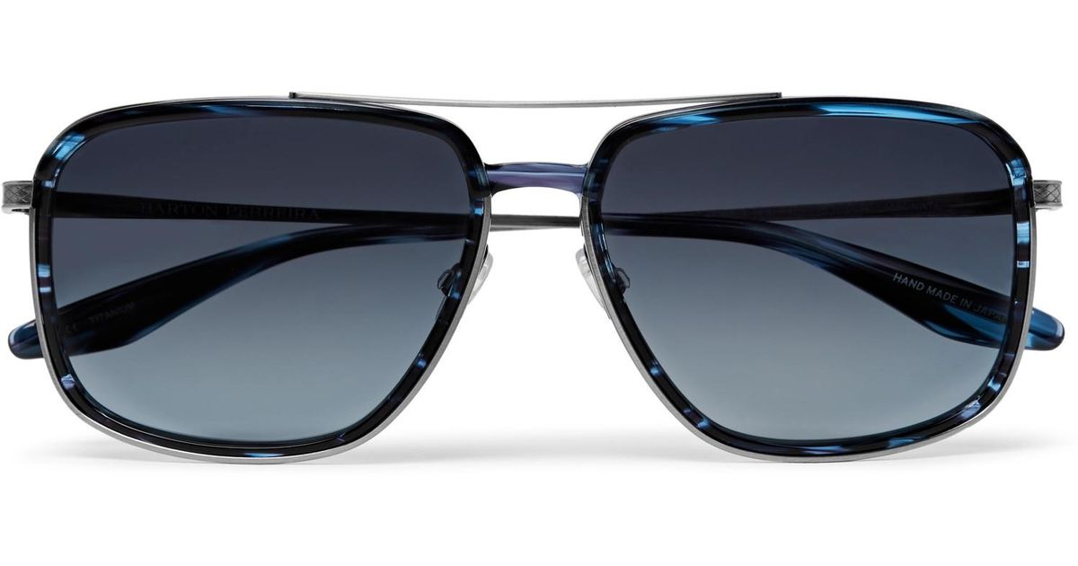 8f6125e909 Lyst - Barton Perreira Magnate Aviator-style Acetate And Pewter-tone  Sunglasses in Blue for Men