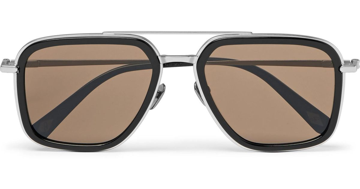 BRIONI Aviator-style Acetate And Brushed Silver-tone Sunglasses - Black c5nXIl