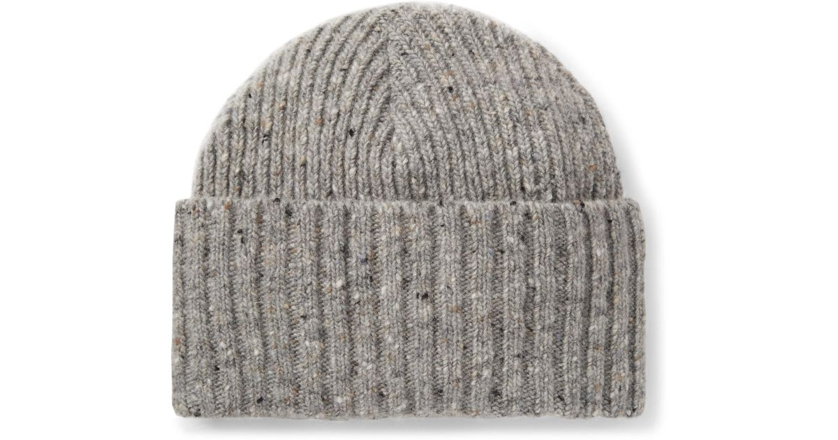 7a3c329167283 Drake's Gray Ribbed Donegal Merino Wool Beanie for men