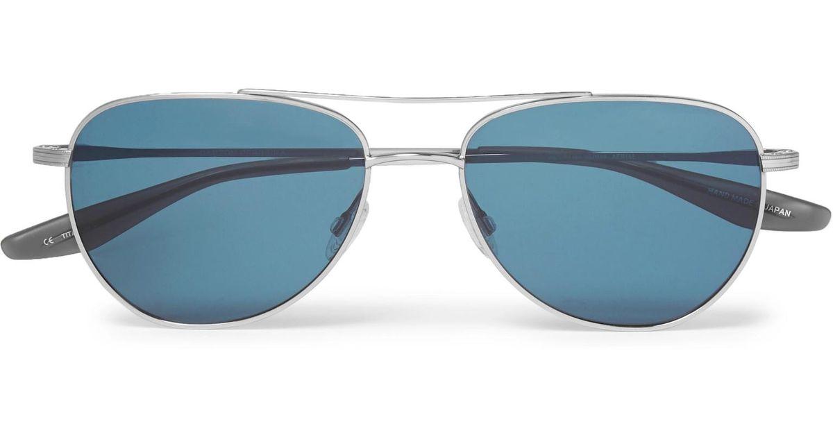 0a85ee841a5 Lyst - Barton Perreira Aerial Aviator-style Silver-tone Titanium Sunglasses  in Metallic for Men