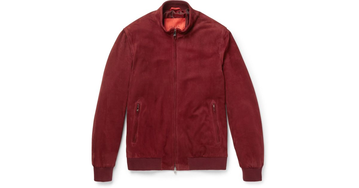 9a328cdc5d Isaia Slim-fit Suede Bomber Jacket in Red for Men - Lyst