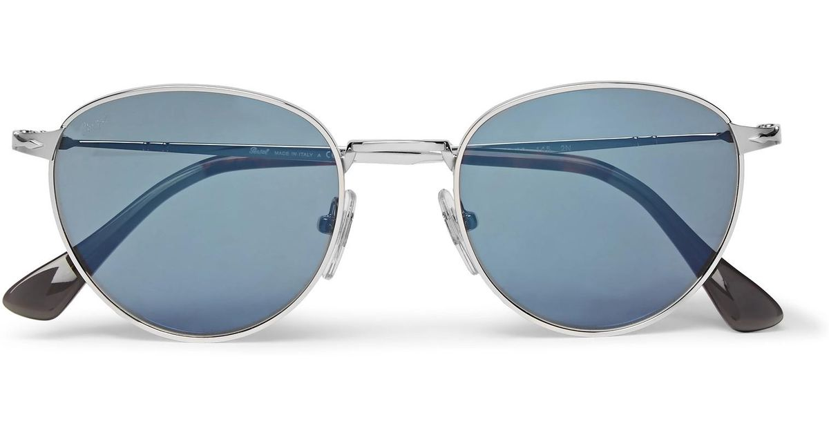 Persol Round Frame Silver Tone Mirrored Sungl In Metallic For Men Lyst