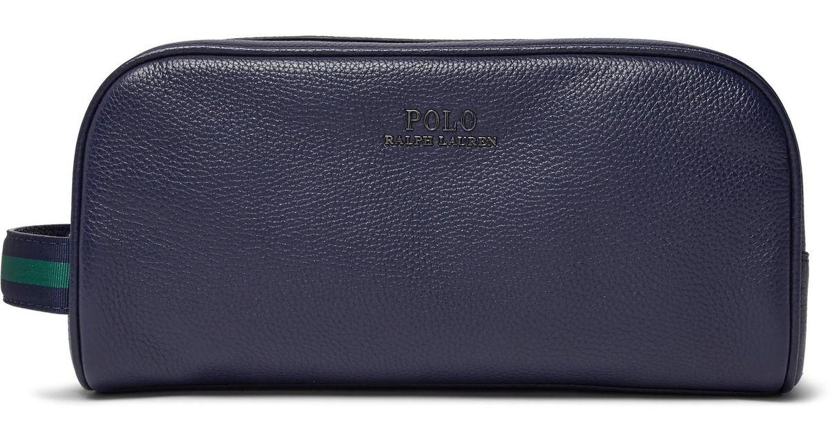 Polo Ralph Lauren Full-grain Leather Wash Bag in Blue for Men - Lyst 2ef2cf85cca01