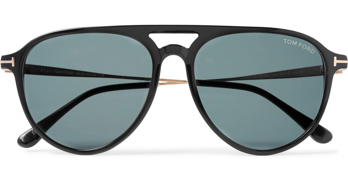 d2c12d60970 Tom Ford Carlo Aviator-style Acetate And Gold-tone Sunglasses in Black for  Men - Lyst