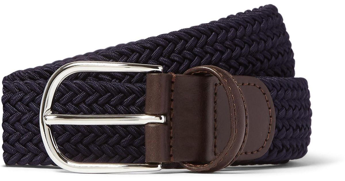 3.5cm Midnight-blue Woven Waxed-cord Belt Anderson's Yz5cAOQ