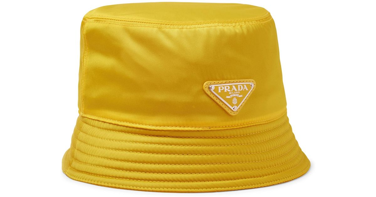 502e3416 Prada Logo-appliquéd Nylon Bucket Hat in Yellow for Men - Lyst