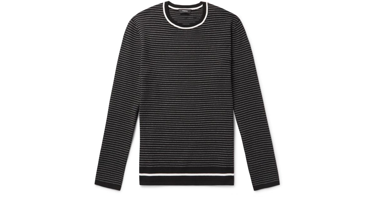 Ribbed for Striped knit Sweater Theory Black in Men Lyst Kortes Ixg8wUtqtS