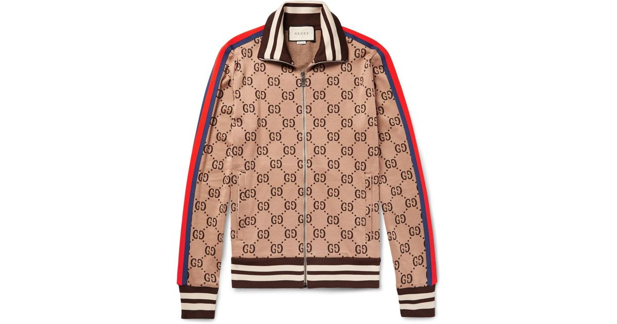 7503c861a Gucci Slim-fit Webbing-trimmed Cotton-jacquard Track Jacket in Brown for  Men - Lyst