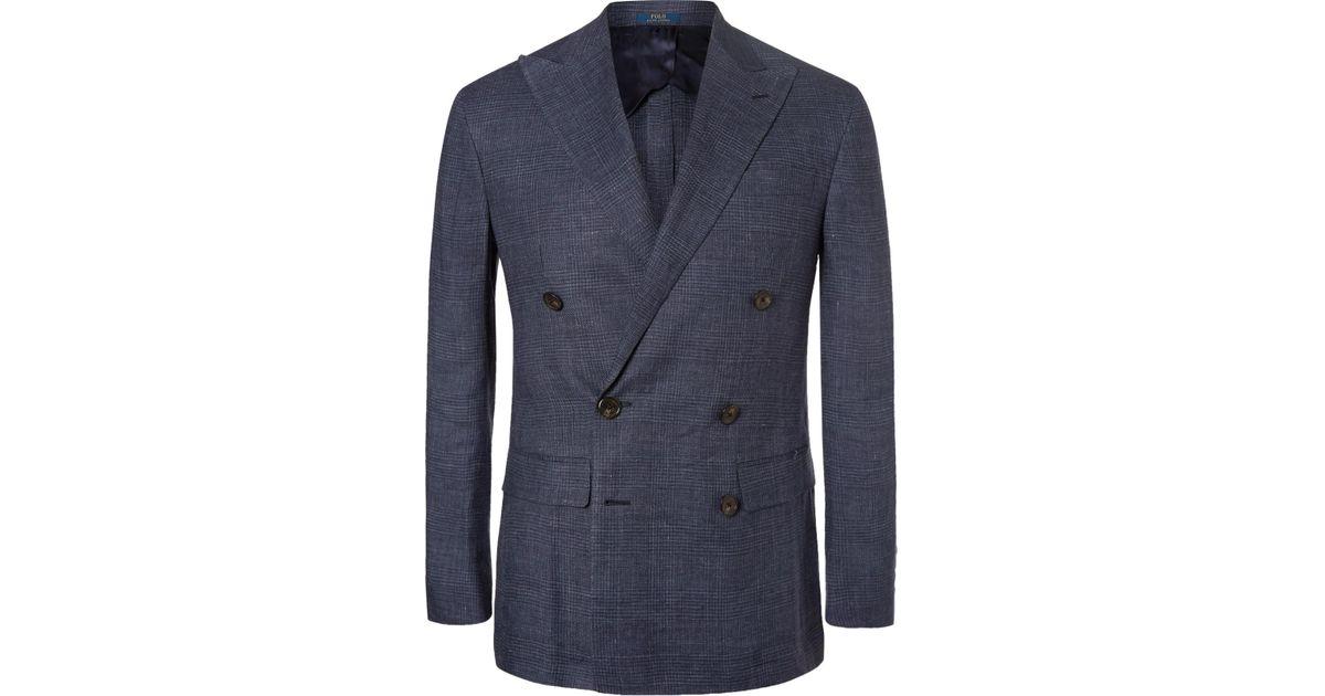 Breasted Ralph For Blue Men Checked Lauren Linen Morgan Double Polo Blazer sxdCtQrhB