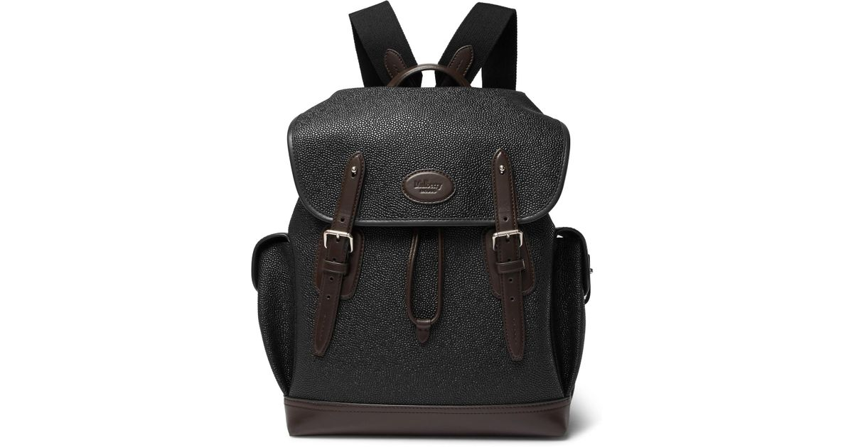 Lyst - Mulberry Heritage Leather-trimmed Pebble-grain Coated-canvas Backpack  in Black for Men aafdd6d7a752a