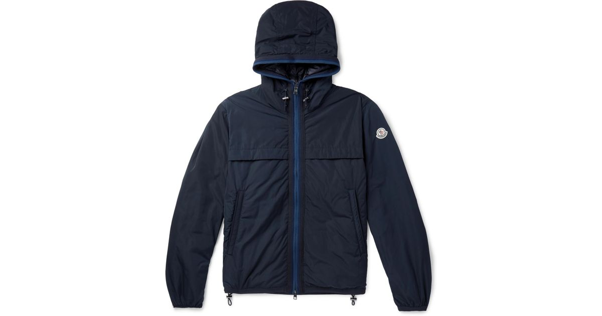 5a9e7663e Moncler Blue Webbing-trimmed Shell Hooded Down Jacket for men