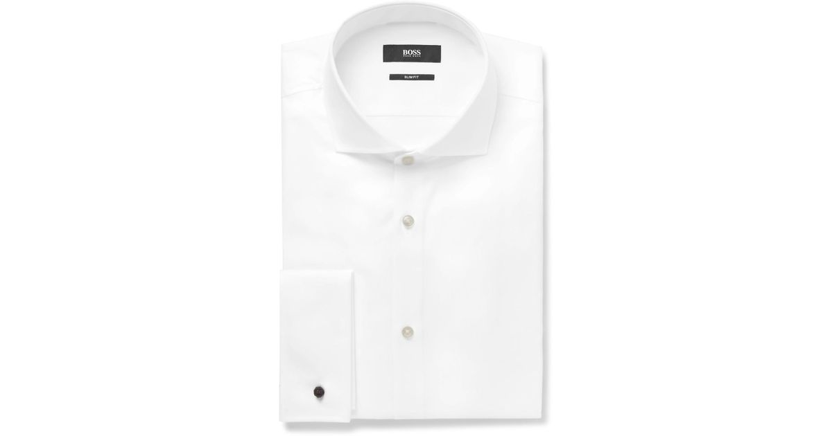 2fc72fac BOSS White Jaiden Slim-fit Double-cuff Cotton-twill Shirt in White for Men  - Lyst