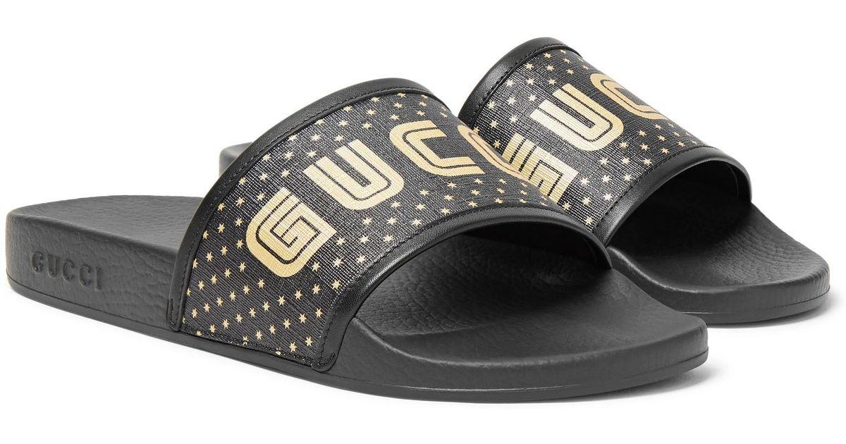 Gucci Leather-trimmed Logo-print Rubber Slides in Black for Men - Lyst