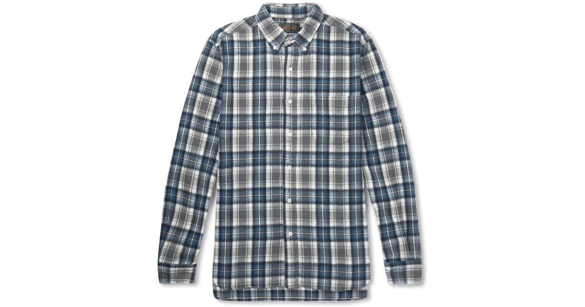 Beams Plus Gray Button-down Collar Checked Cotton-flannel Shirt for men